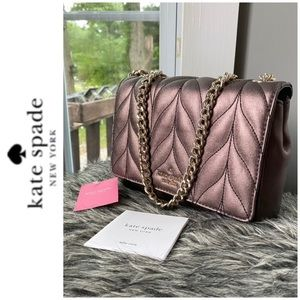 NWT Kate Spade quilted leather bronze shoulder bag